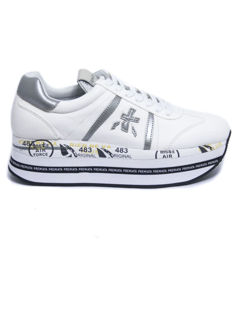 Premiata Beth Sneakers In White Leather - Bianco