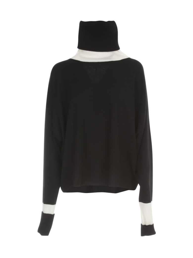PierAntonioGaspari Short Turtle Neck Sweater Bicolour - Nero Ecru