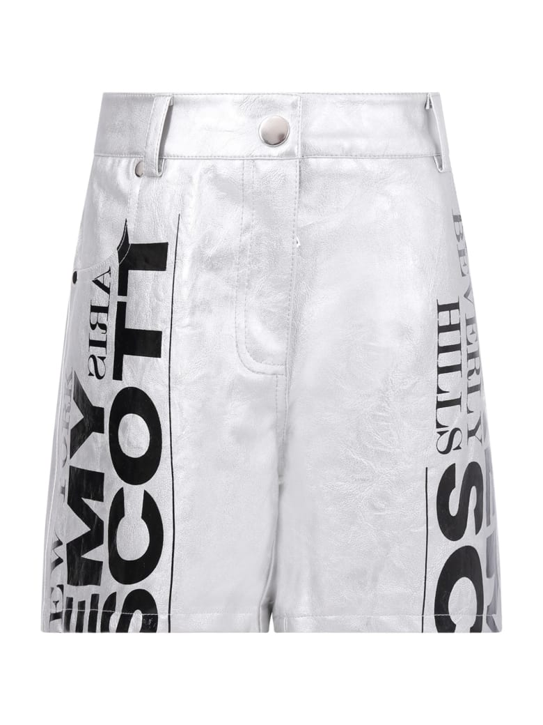 Jeremy Scott Silver Shorts For Girl With Logo - Silver