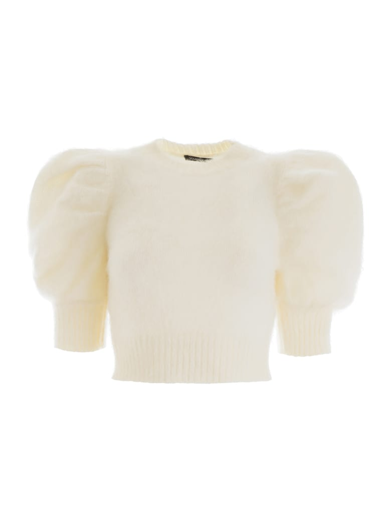 WANDERING Short-sleeved Knit Top - OFF WHITE (White)