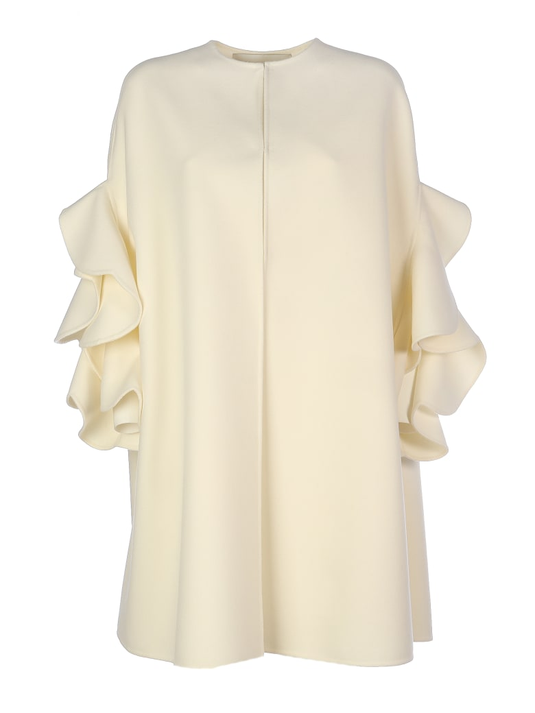 Valentino Wool Coat With Maxy Rouche/cappa Ruches - Ivory