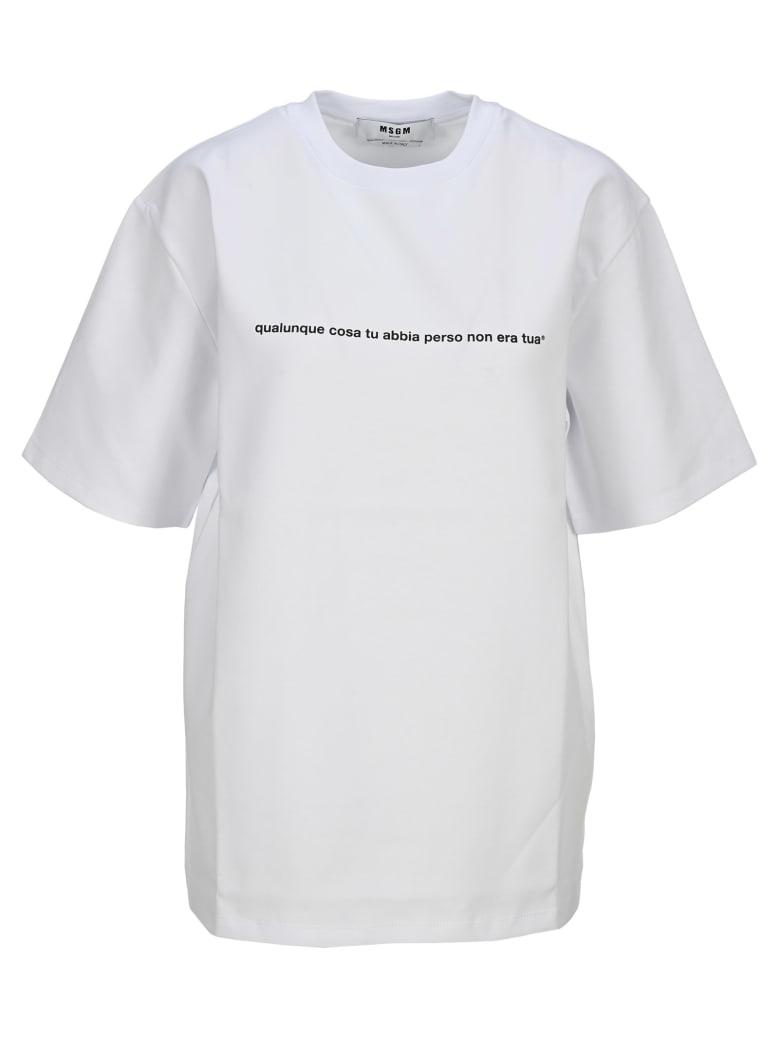 MSGM Slogan Print T-shirt - WHITE
