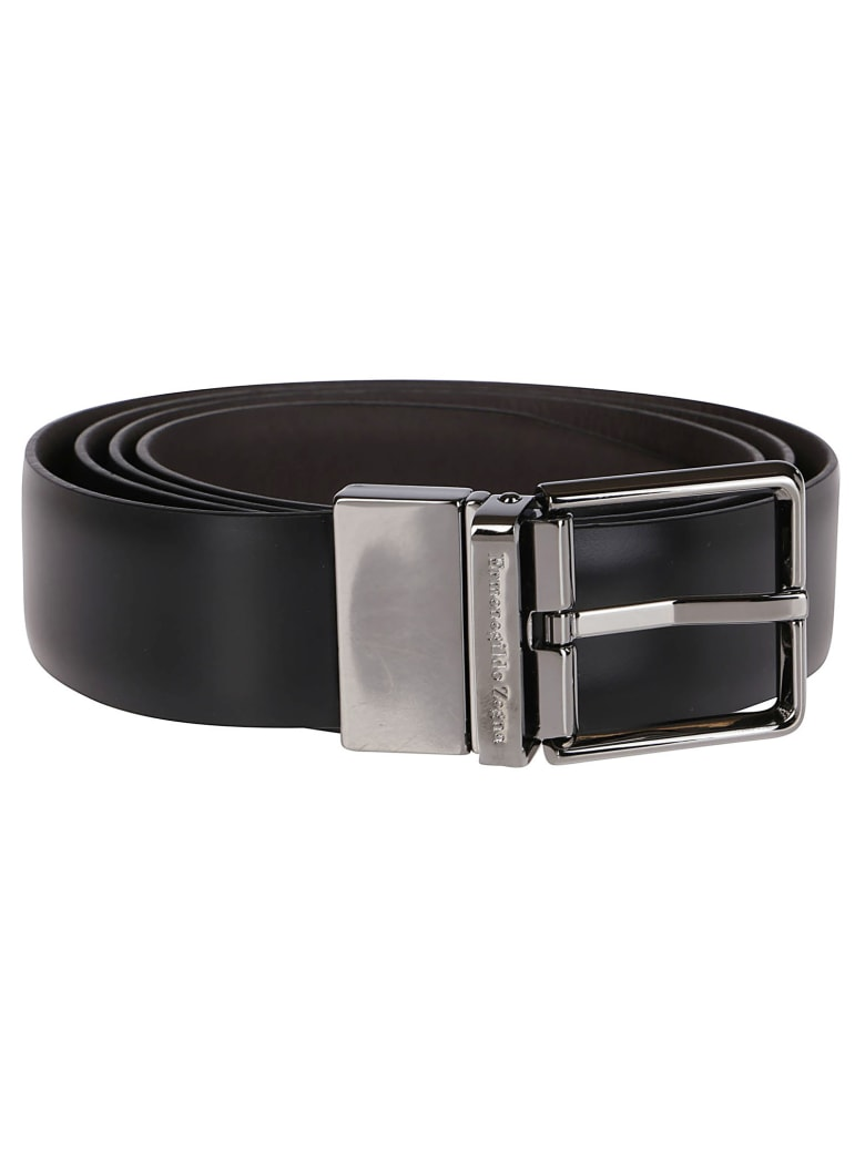 Ermenegildo Zegna Black Leather Buckle Belt - Black