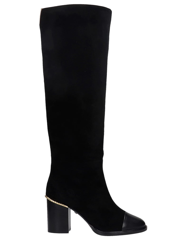 Grey Mer High Heels Boots In Black Suede - black
