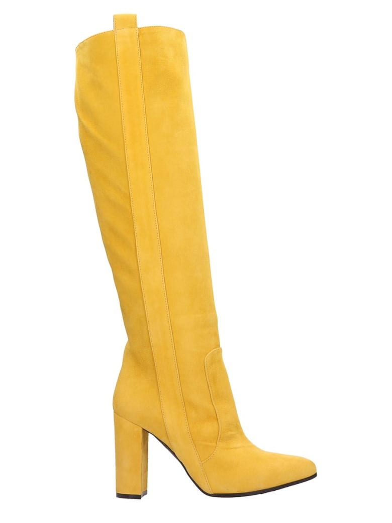 Via Roma 15 High Heels Boots In Yellow Suede - yellow