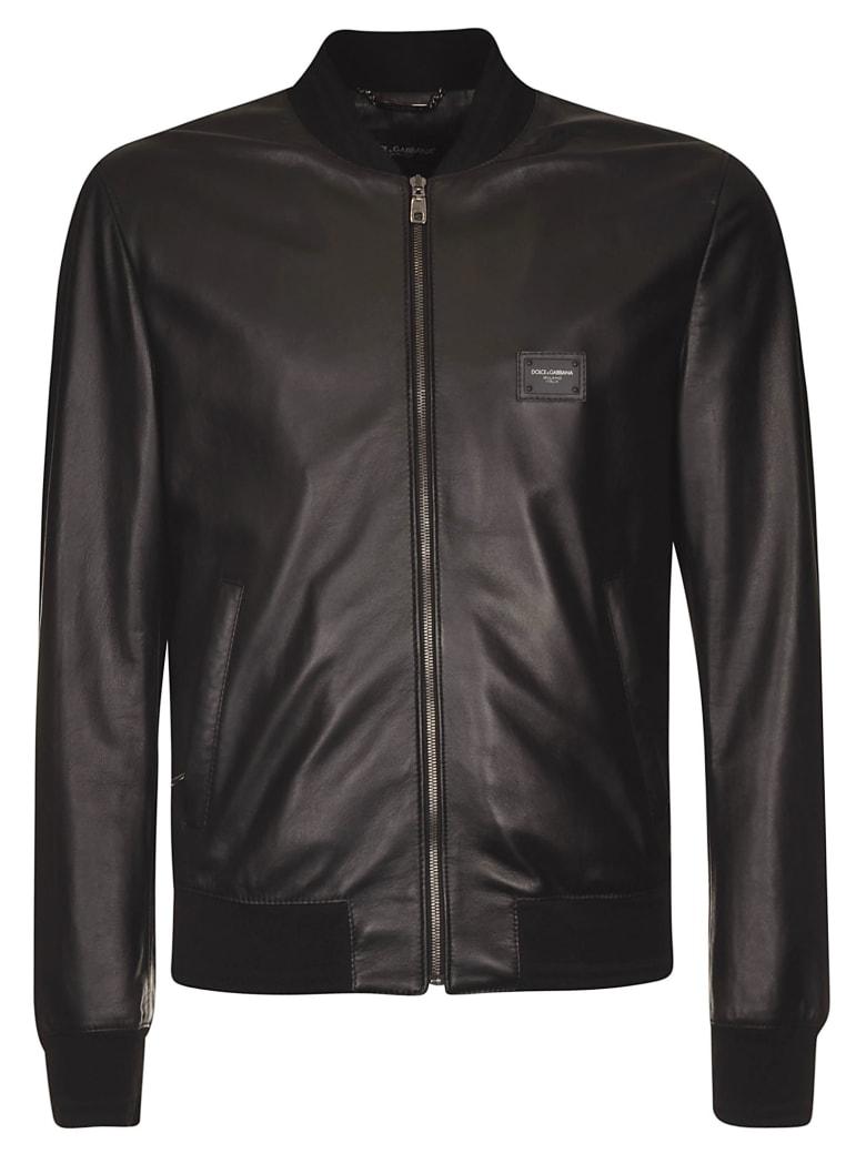 Dolce & Gabbana Chest Logo Plaque Bomber - Black