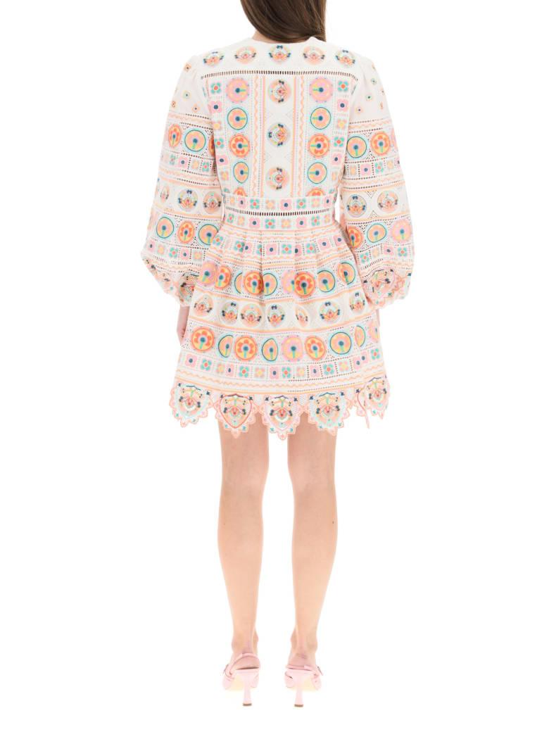 Zimmermann Brighton Mini Dress With Embroideries - Multicolor