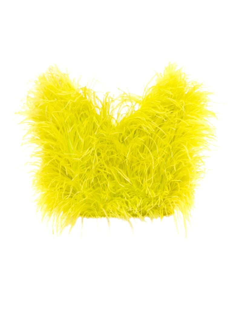The Attico Crop Top Feathers - Yellow