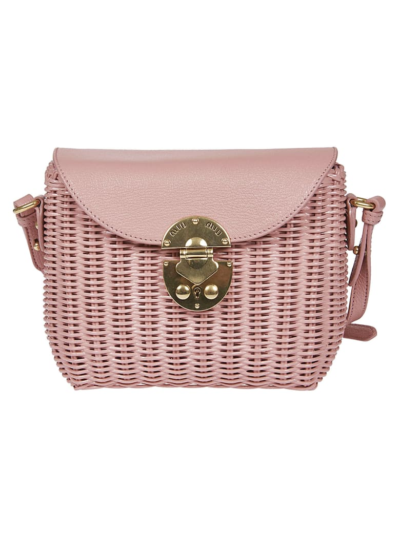 Miu Miu Straw Shoulder Bag - Rosa