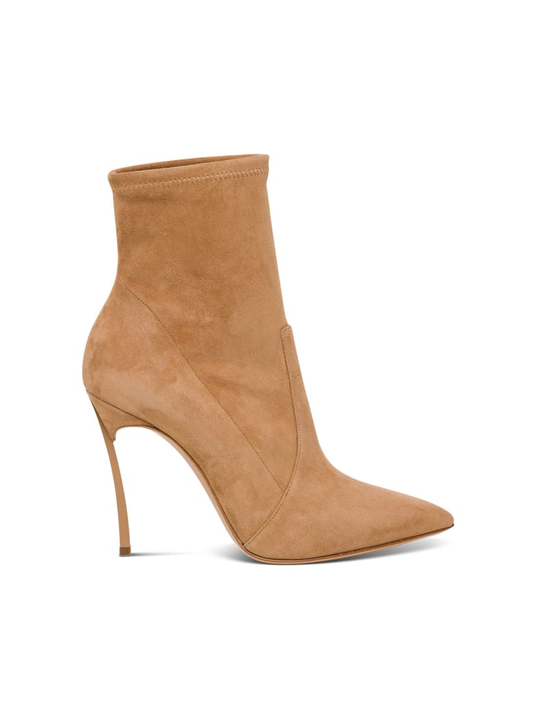 Casadei Blade Suede Ankle Boot - Beige