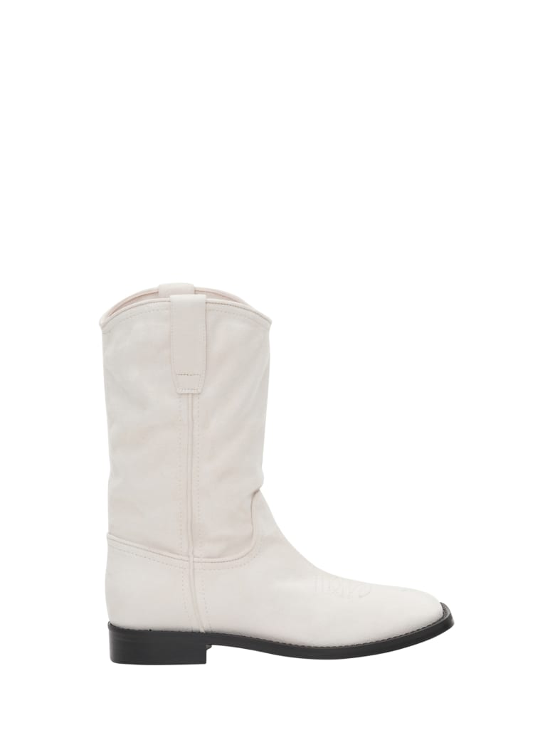 Alberta Ferretti Leather And Suede Bootie - Bianco