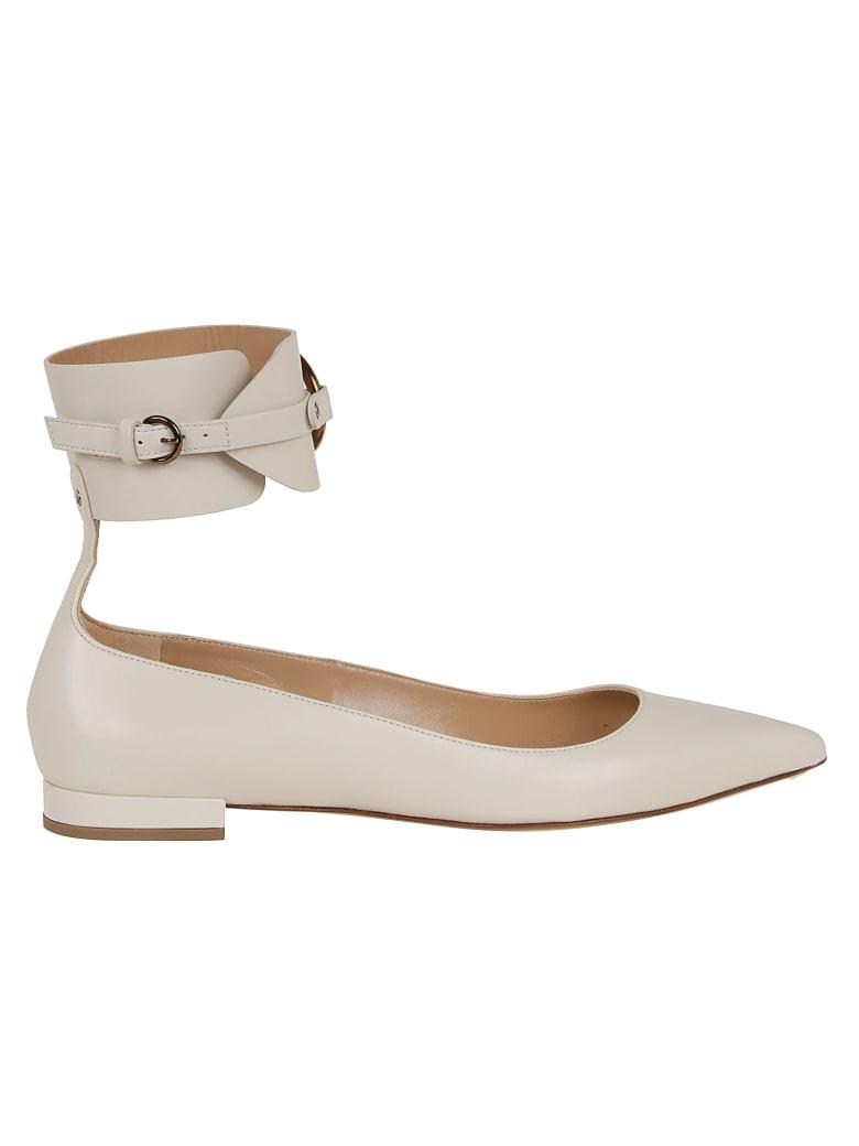 Francesco Russo Calf Leather Ballerina - Ivory