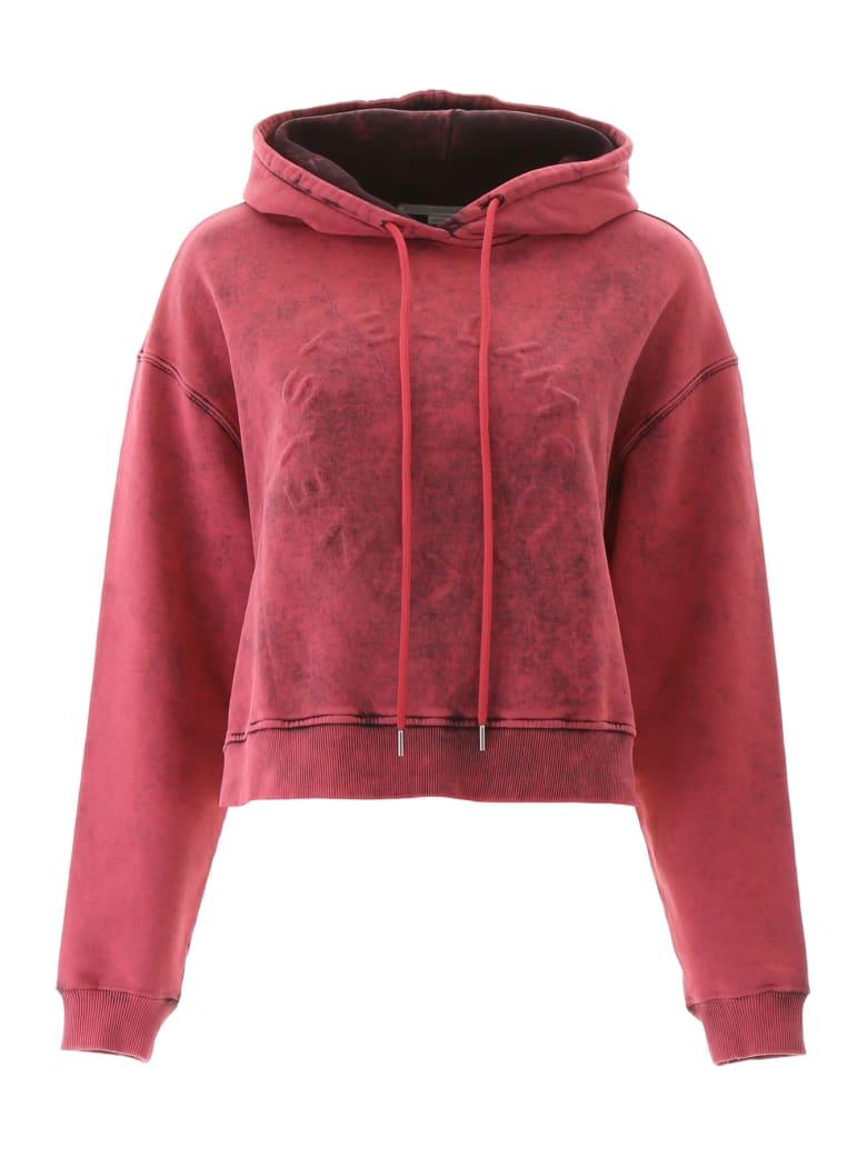 Stella McCartney Embossed Logo Crop Hoodie - PINK WASH (Fuchsia)