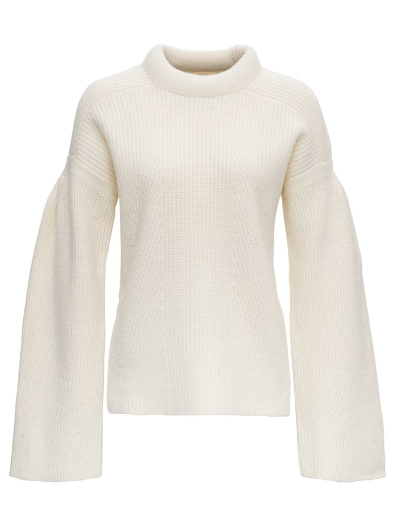 Loulou Studio Swaeter In Wool With Funnel Neck And Flared Sleeves - WHITE