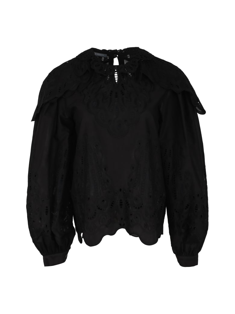 Alberta Ferretti Broderie Anglaise Cotton Blouse - black