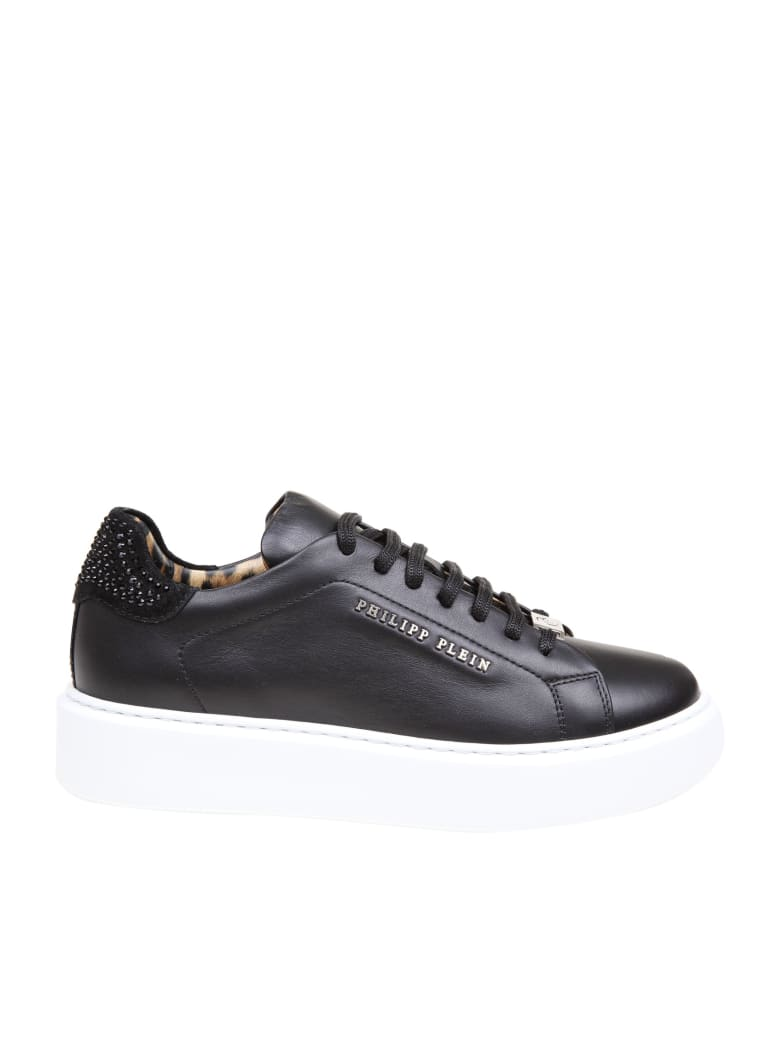 Philipp Plein Lo-top Sneaker In Leather With Crystal Inserts - Black
