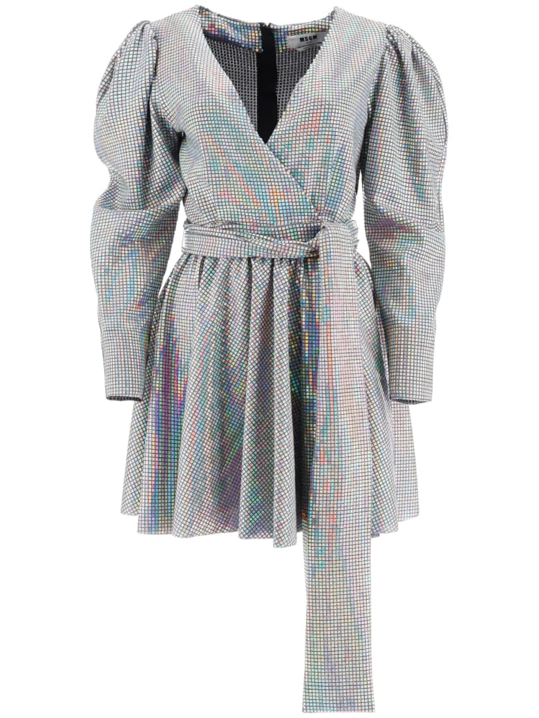 MSGM Mini Dress With Iridescent Facets - SILVER (Silver)