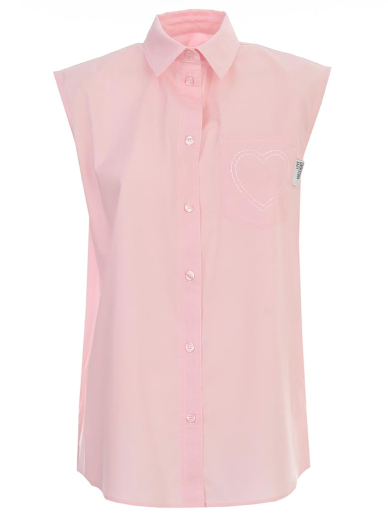 Love Moschino Shirt W/s W/heart On Pockets - Pink