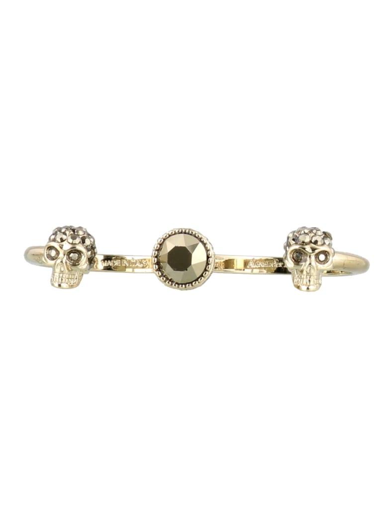 Alexander McQueen Double Skull Ring - Gold