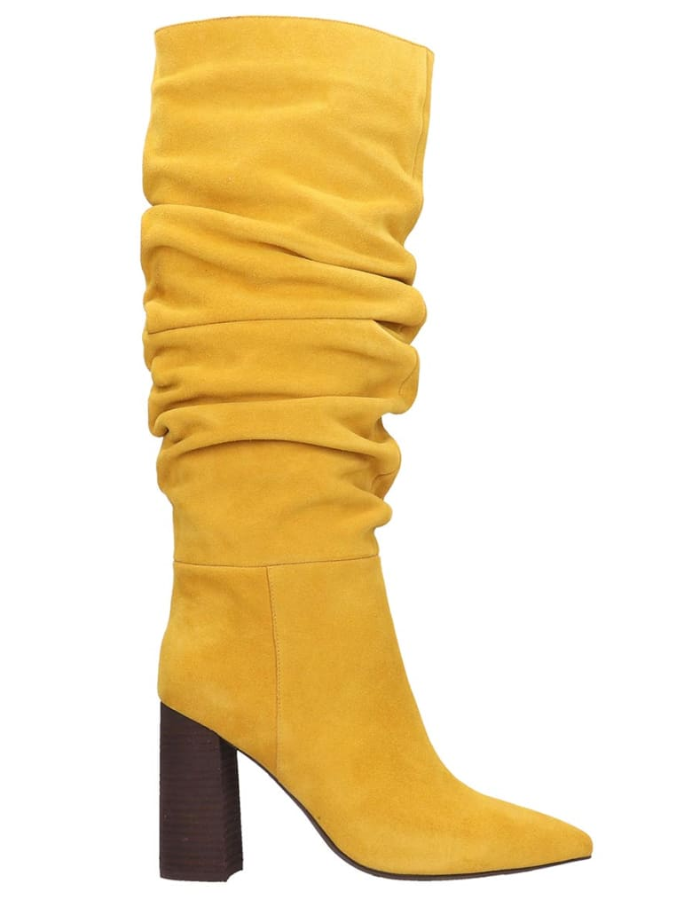 Jeffrey Campbell Siren 3sl Boots In Yellow Suede - yellow