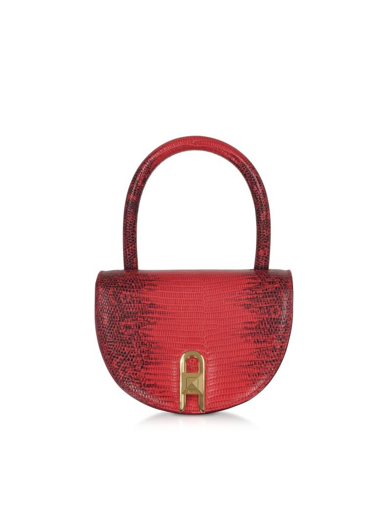 Salar Winnie Lizard Cherry Embossed Leather Top Handle Bag - Cherry