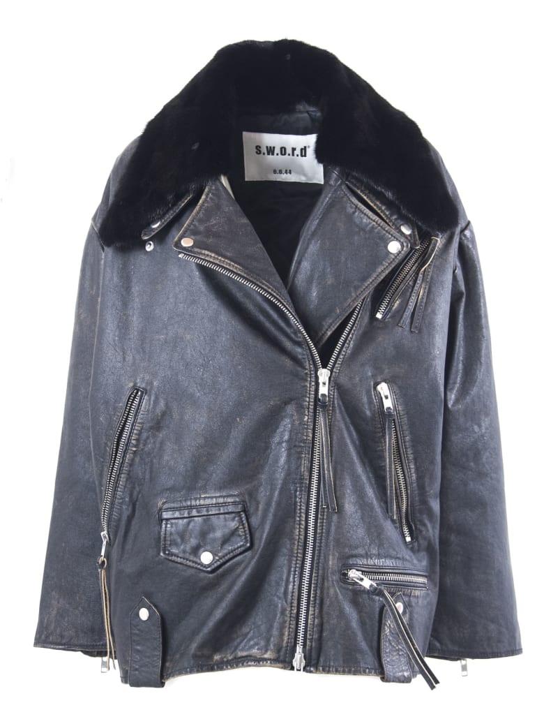 S.W.O.R.D 6.6.44 Black Lambskin Zip-up Biker Jacket - Nero