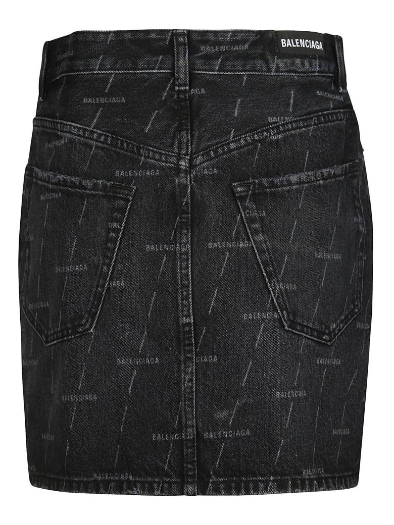 Balenciaga 5 Pocket Logo Denim Skirt - Nero