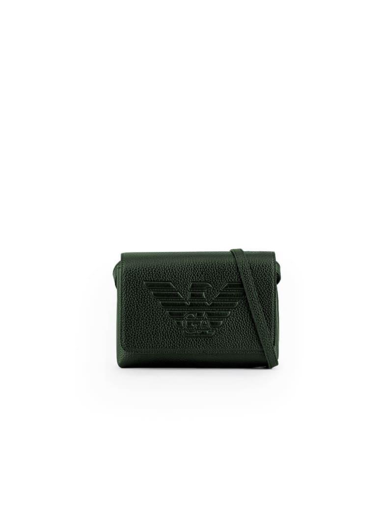 Emporio Armani Maxi Logo Green Shoulder Bag - Green (Green)