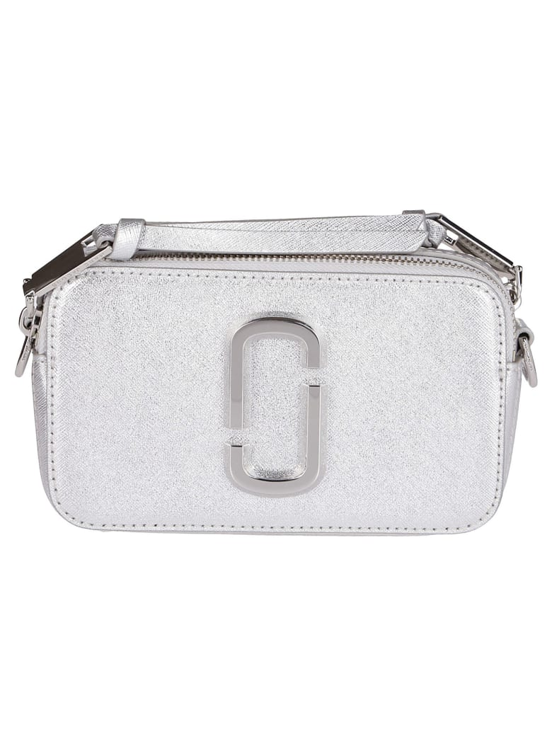 Marc Jacobs Silver-tone Leather Snapshot Crossbody Bag - Silver
