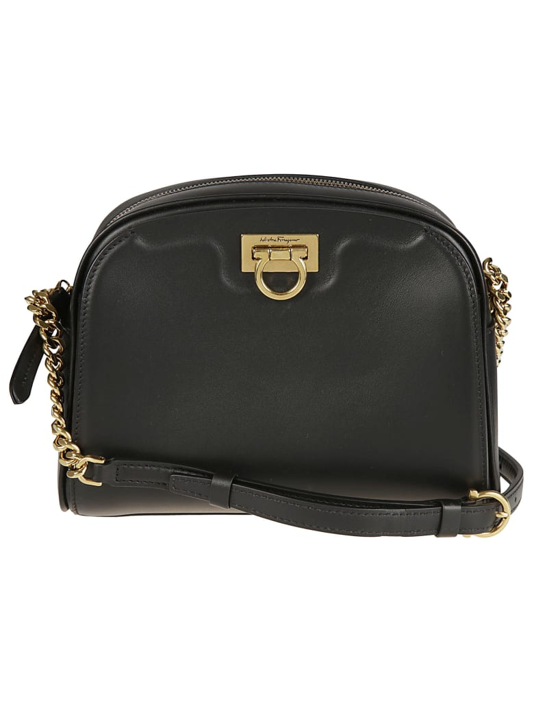 Salvatore Ferragamo Flap Lock Top Zip Shoulder Bag - Black