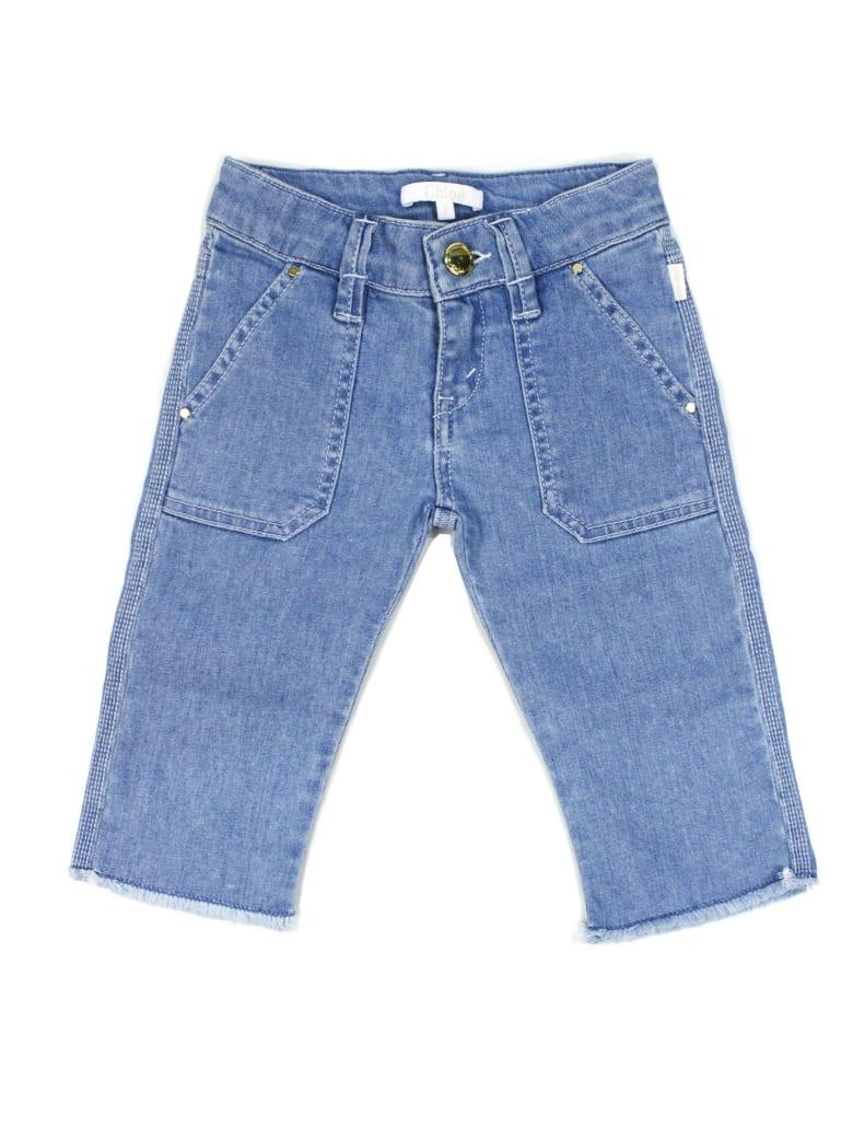 Chloé Blue Cotton Jeans - Blu