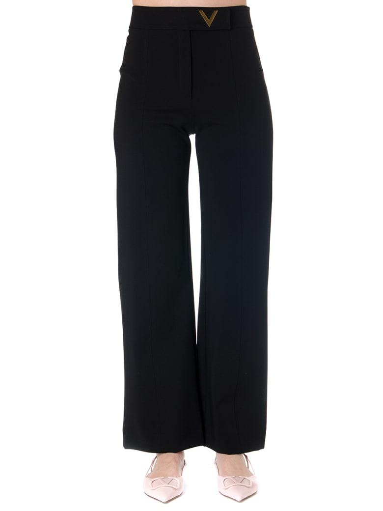 Valentino V Logo Gold Black Jersey Pants - Nero