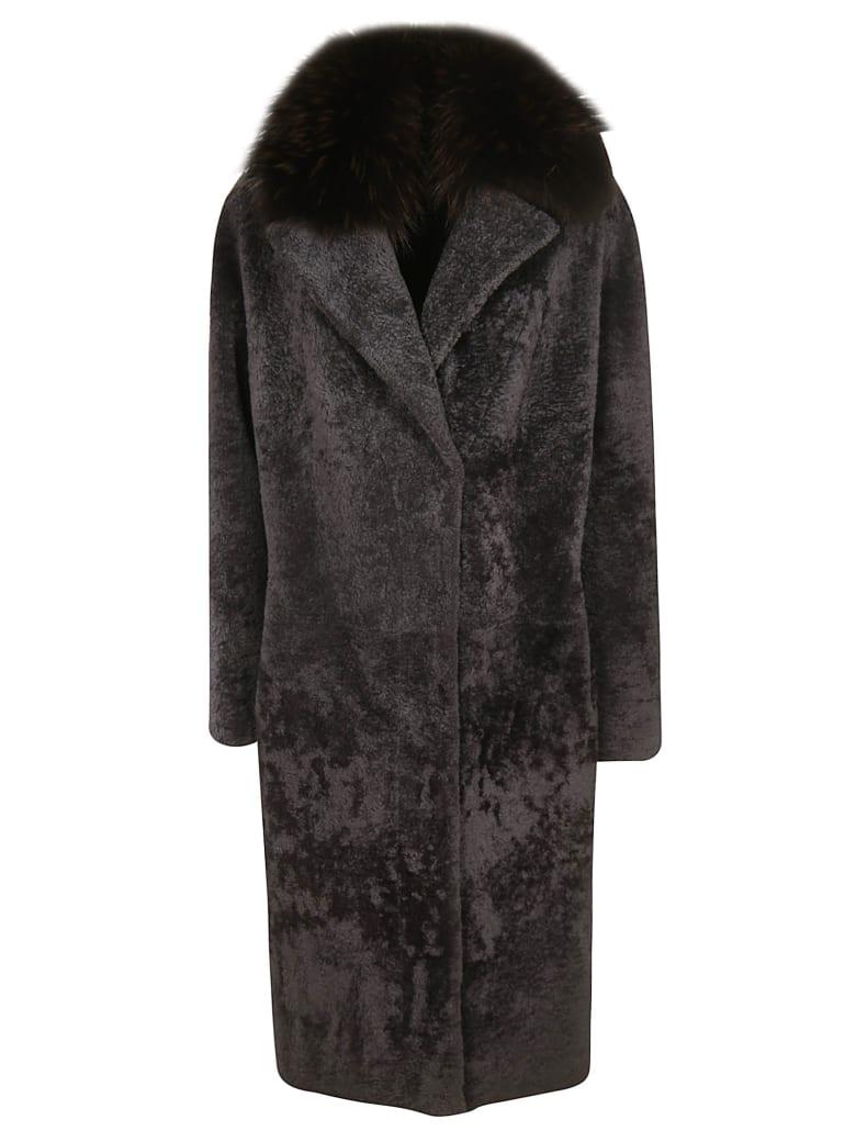 S.W.O.R.D 6.6.44 Montone Fox Neck Coat - Grey