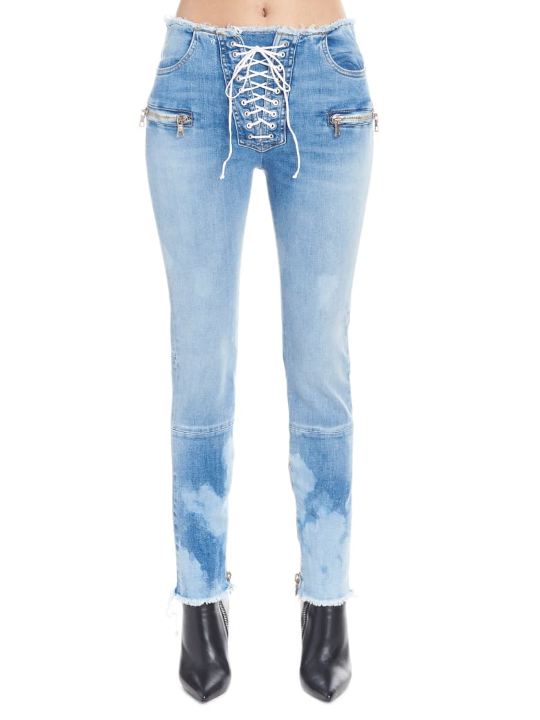 Ben Taverniti Unravel Project 'skinny Raw Lace Up' Jeans - Blue