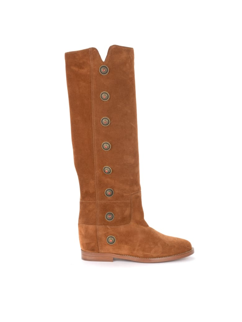 Via Roma 15 Boot In Leather-colored Suede With Metal Side Buttons - MARRONE