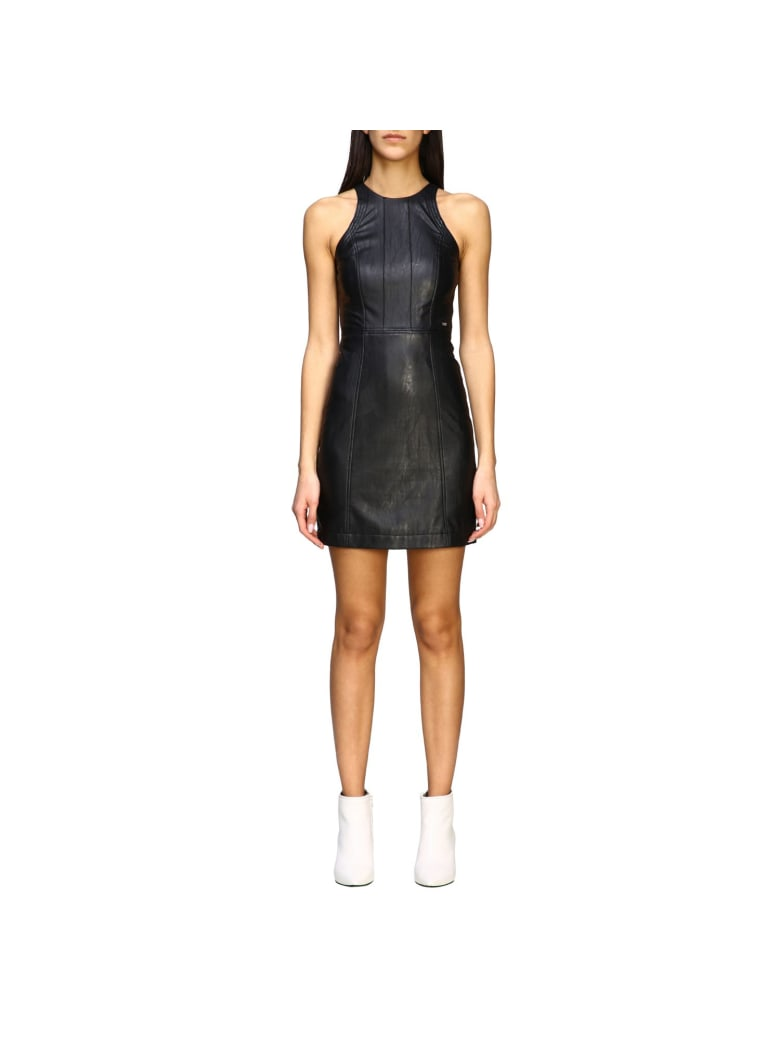 Armani Collezioni Armani Exchange Dress Armani Exchange Short Dress In Synthetic Leather - black