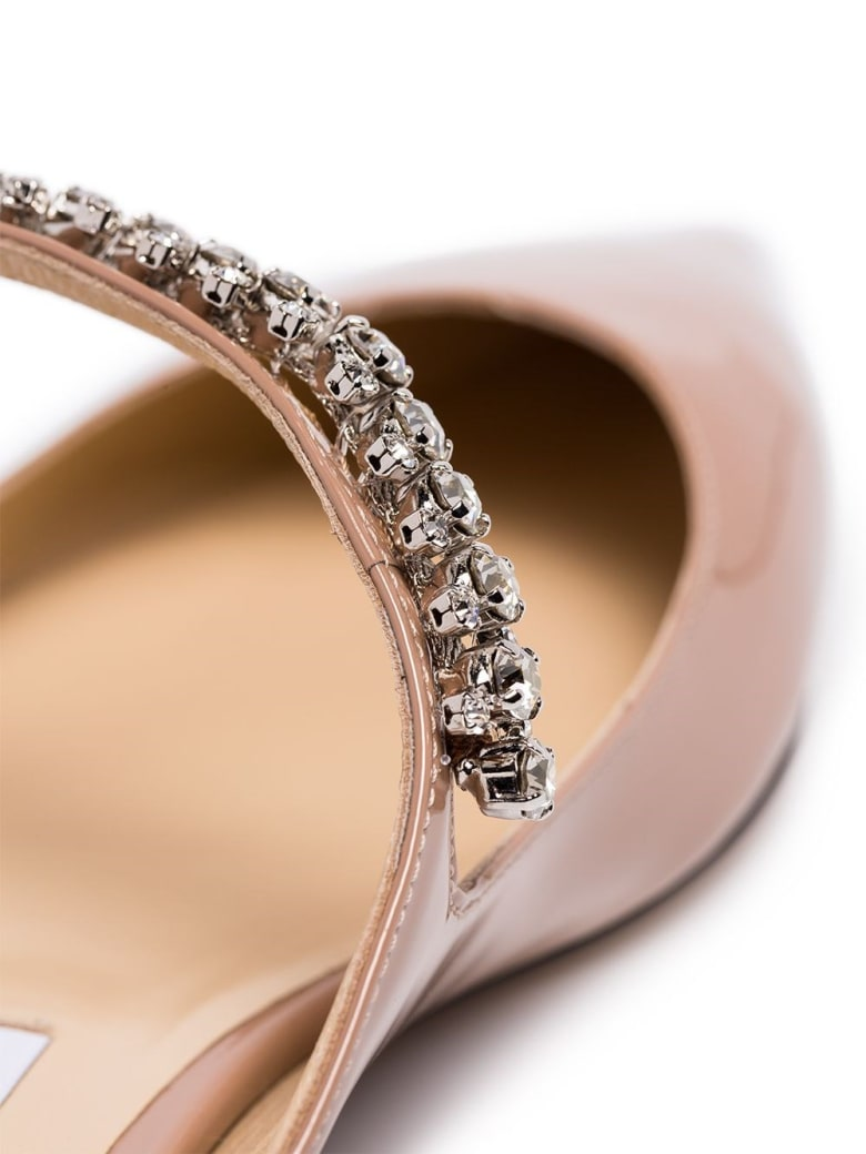 Jimmy Choo Bing Flat Leather Mules With Crystal Insert - Pink