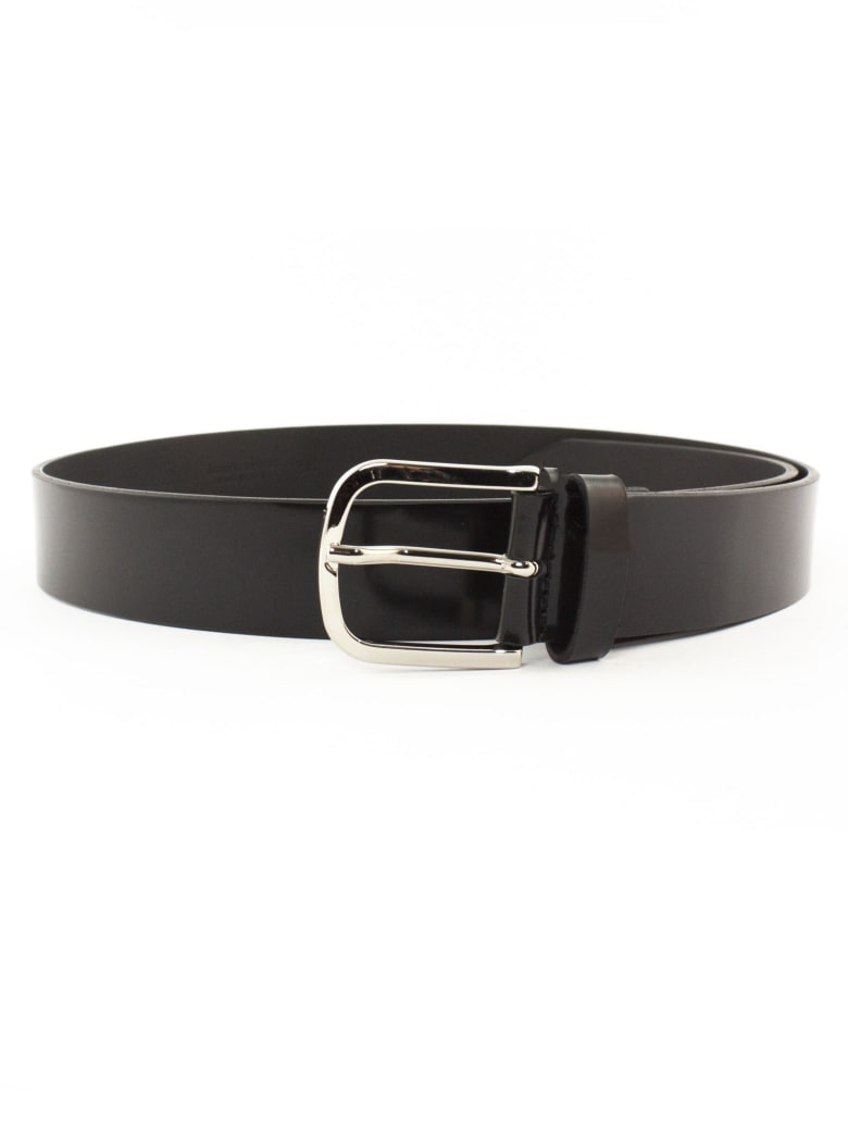Orciani Bright Classic Black Patent Leather Belt - Nero