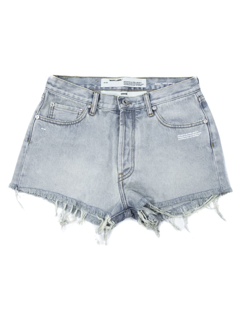 Off-White Denim Shorts In Bleached - Jeans Chiaro