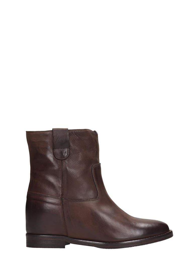 Julie Dee High Heels Ankle Boots In Brown Leather - brown