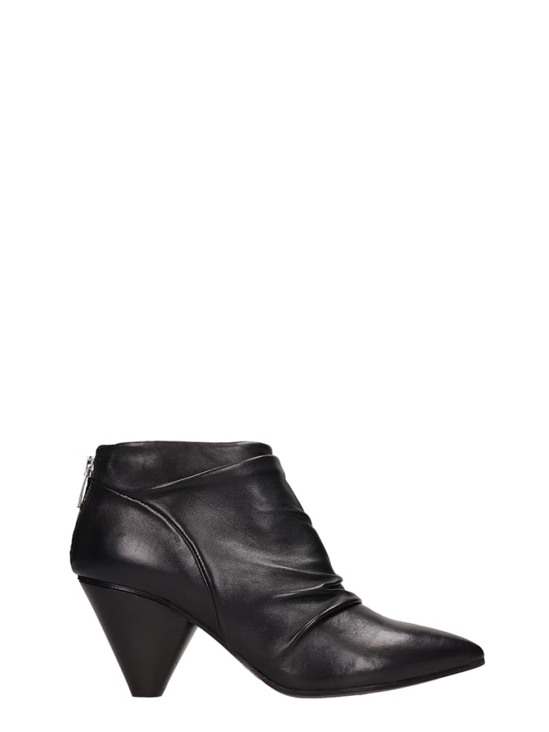Janet & Janet Black Leather Ankle Boots - black