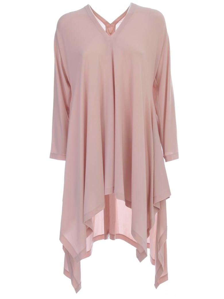 Issey Miyake Short Tunic Dress L/s V Neck - Light Beige