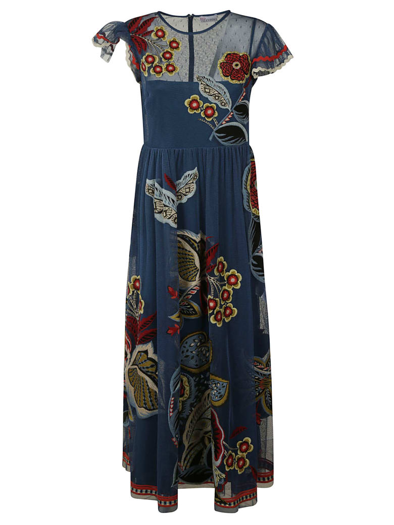 RED Valentino Long Printed Dress - Blue/Multicolor