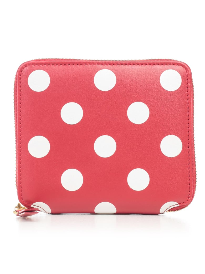Comme des Garçons Wallet Wallet Medium Dots Printed Leather Line - Red