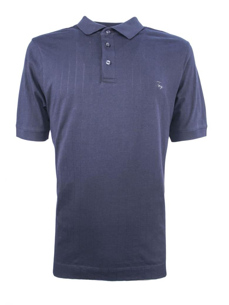 Fay Dark Blue Cotton Polo Shirt - Blu Scuro