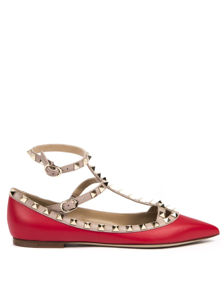 Valentino Garavani Red Leather Rockstud Ballerinas - Red/poudre
