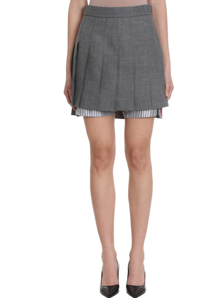 Thom Browne Pleated Bloomer Miniskirt - grey