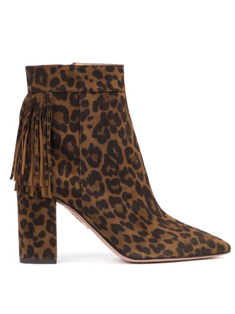 Aquazzura Leopard Suede Leather Ankle Boots - Cinnamon