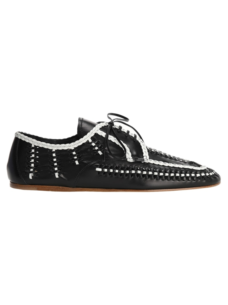 Prada Leather Laced Shoes - BLACK + WHITE