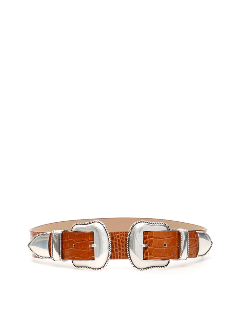 B-Low the Belt Rouge Croco Belt With Double Buckle - COGNAC SILVER (Brown)